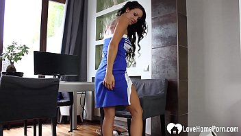 Horny girlfriend moans while pleasuring her slit