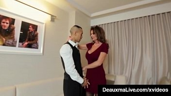 Employment as adult sms service Horny cougar babe deauxma fucks room service guy in hotel