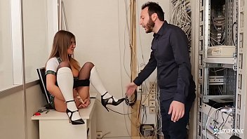 LA COCHONNE - Ass fucking in the principal'_s office with French Mina Sauvage