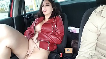 Maria public masturbation in moving car