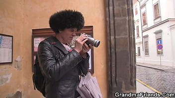 They Film Porn Movie With Hairy Old Pussy Woman