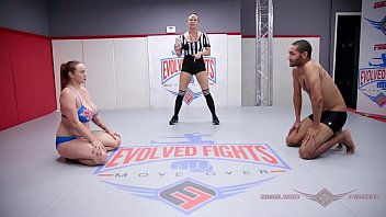 Huge boobs redhead Bella Rossi naked wrestling battle vs Mickey Mod face smothers that loser