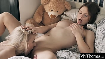 Sexy blonde and cute redhead eat each other'_s pussies and scissor each other