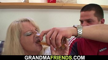 Very old blonde granny double fuck