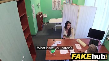Fake Hospital Tall brunette patient with big natural tits swallows docs cum 11 min