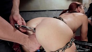 Redhead beauty is tied and fucked