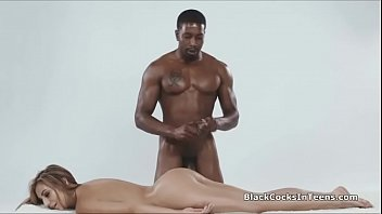Oiled beauty sucking on BBC during massage