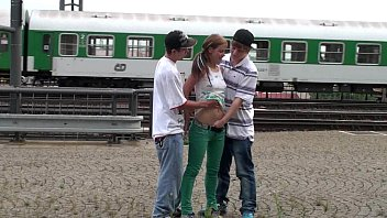 Streaming Video Young teens risky PUBLIC railway station threesome - XLXX.video