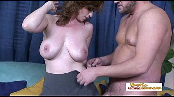 Pale naturally busty MILF getting her hairy pussy drilled