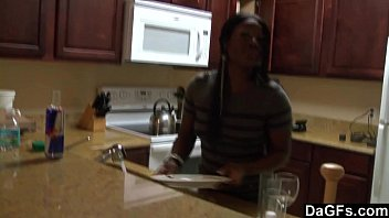 Amateur Black Couple Fucking In The Kitchen