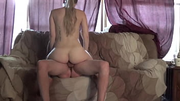Big ass Blondie Jo goes for a ride on the couch.