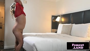 Bbw trans chick tugging on her hard cock
