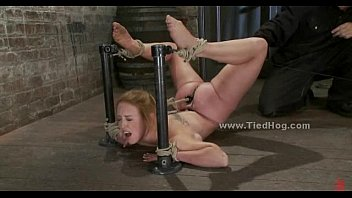 Busty blond bondage babes Busty blonde babe tied with hands behind sucking cock in bondage blowjob