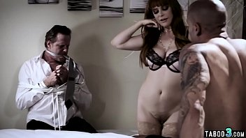 Busty MILF housewife fucks in front of her tied husband