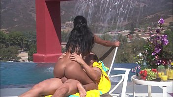 Pool porn with unsatisfied black woman
