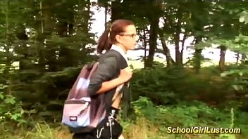Busty Schoolgirl Is Screwed In The Woods