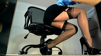 Muscle babe upskirt Sexy underdesk tease showing stockings over nylons