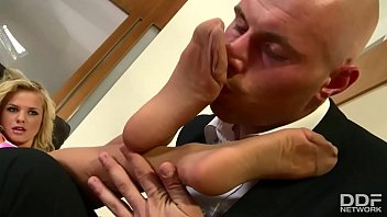 Stocking footjob footsie videos - Super sexy blonde slut in stockings foot fucks like magic