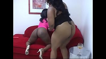 Couple of black overblown beauties taste their finger skills, muff diving and new dildo