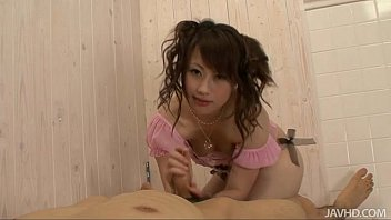 Adorable teen Kanae Serizawa gives her guy a foot job before gobbling down his h 5 min