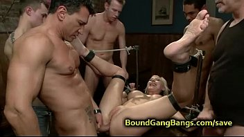 Restrained in ropes blonde orgy fucked