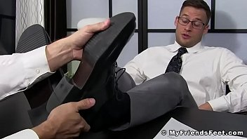 """Handsome businessman feet worshiped by his new partner <span class=""""duration"""">5 min</span>"""