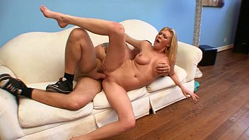 Blonde babe Victoria Vonn with nice ass on white sofa gets wet cunt drilled by fat dick