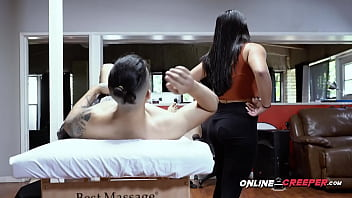 Masseuse is roughly tied up and subdued into taking clients big cock hot belowjob