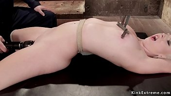 Hogtied blonde gets crotch rope