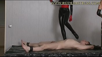 Puring wax on sub's small penis