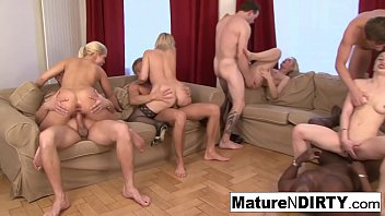 Hardcore anal and DP orgy featuring hot MILFs in stockings