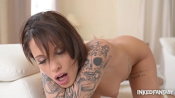 French Tattoo Beauty Fingers Pussy, Shows Off Booty