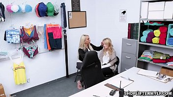 Sexy blonde shoplifter MILF Kylie Kingston and her dauther Natalie Knight both caught by a horny cop and started a 3some to get ouf of trouble.