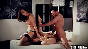 Horny lesbians Penny Pax and busty Chanel Preston fucked by a dirty guy