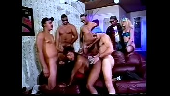 Slutty cocksuckes gets gang banged by five guys at house party
