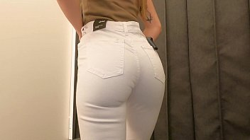 Fit girl try-on haul slim fit jeans, trousers. 4k