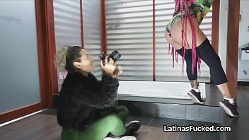 Super long pink haired Latina amateur on cock