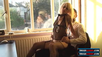 a slim submissive blonde girl