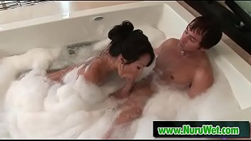 Asian masseuse Asa Akira sucks big clients cock in the shower