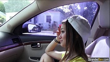 Teen hitchhiker London Smith finds a ride and a big cock