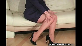 Blond MILF Nina stripping and rubbing
