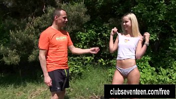 Breast bursting out Teen joleyn gets fucked and cummed outdoors
