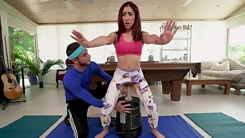 Latin Teen Kira Perez Getting Some One On One Time With Personal Trailer Tyler Steel