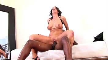 Rich hot brunette MILF takes the Big Black Cock of Gardener with a Creampie