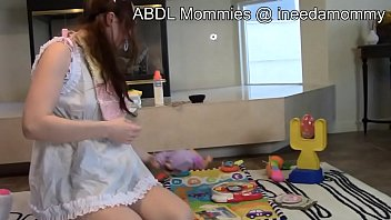 Adult baby girls diapered & spanked DDLG