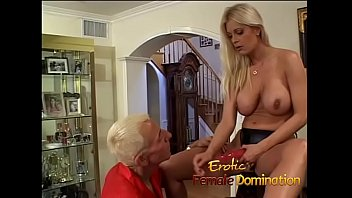 Absolutely stunning blonde dominatrix enjoys a hardcore session with a slave