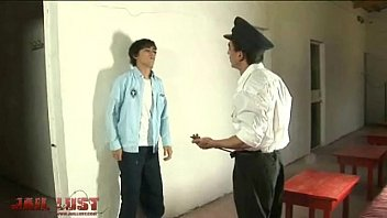 Sweet curly boy attacked by horny gay prison guard 2 min