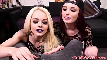 Inked goth teen doggystyled while pussylicks