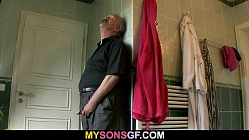 Horny old dad uses son's girlfriend