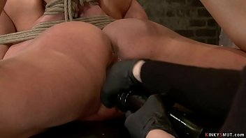 Busty lesbian anal fucked on hogtie